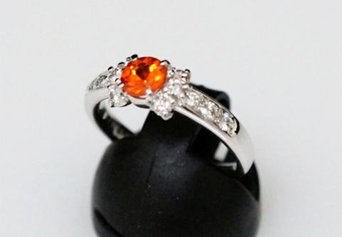 プラチナ900 天然スぺサタイト ガーネット 天然ダイヤモンド 指輪(サイズ12号)
