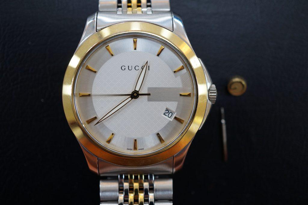 No.620   GUCCI(グッチ) クォーツ腕時計を修理しました
